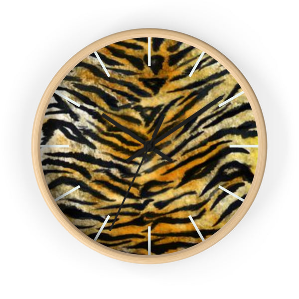 "Stylish Tiger Stripe Faux Fur Pattern Animal Print 10"" Diameter Wall Clock - Made in USA-Wall Clock-Wooden-Black-Heidi Kimura Art LLC"