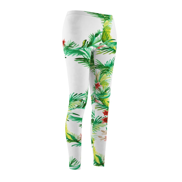 White Rose Floral Print Women's Tights /Casual Leggings - Made in USA(US Size: XS-2XL)-Casual Leggings-Heidi Kimura Art LLC