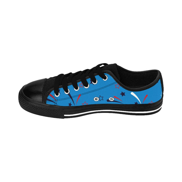 Blue American July 4th Statue Of Liberty Men's Low Top Sneakers Tennis Running Shoes-Men's Low Top Sneakers-Heidi Kimura Art LLC