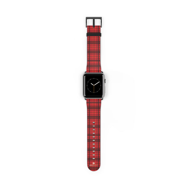 Scottish Red Tartan Plaid Print 38mm/42mm Watch Band For Apple Watch- Made in USA-Watch Band-42 mm-Black Matte-Heidi Kimura Art LLC