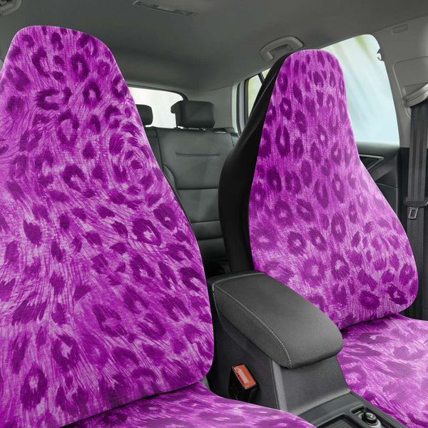 Pink Leopard Car Seat Cover, Purple Pink Leopard Animal Print Designer Essential Premium Quality Best Machine Washable Microfiber Luxury Car Seat Cover - 2 Pack For Your Car Seat Protection, Cart Seat Protectors, Car Seat Accessories, Pair of 2 Front Seat Covers, Custom Seat Covers