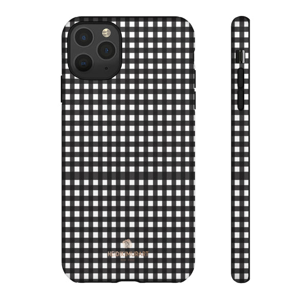 Buffalo Plaid Print Phone Case, Black White Tough Designer Phone Case -Made in USA-Phone Case-Printify-iPhone 11 Pro Max-Glossy-Heidi Kimura Art LLC