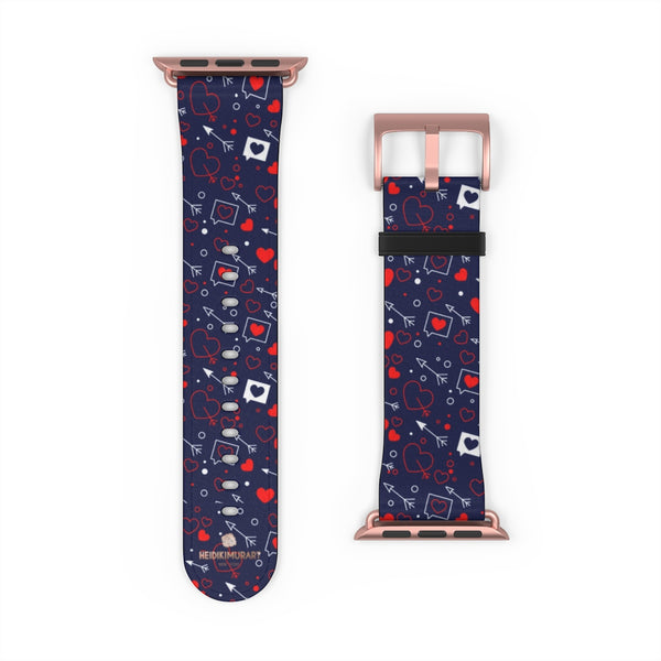 Fun Red Hearts Shaped V Day 38mm/42mm Watch Band For Apple Watch- Made in USA-Watch Band-Heidi Kimura Art LLC