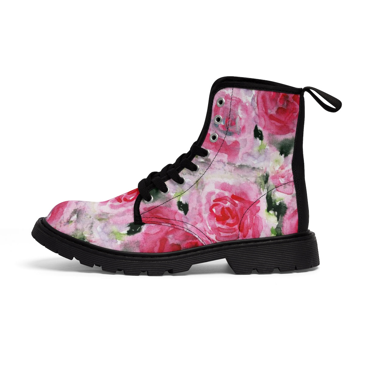 Pink Rose Floral Print Designer Women's Winter Lace-up Toe Cap Boots Shoes (US 6.5-11)-Women's Boots-Black-US 9-Heidi Kimura Art LLC