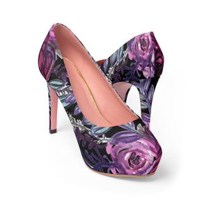 "Floral Language Purple Rose Cute Designer Women's 4"" Platform Heels (US Size: 5-11)-4 inch Heels-US 7-Heidi Kimura Art LLC"