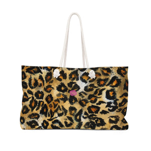 "Snow Leopard Print Weekender Bag, Wild Animal Faux Fur Skin Print Designer 24""x13"" Bag-Weekender Bag-24x13-Heidi Kimura Art LLC"