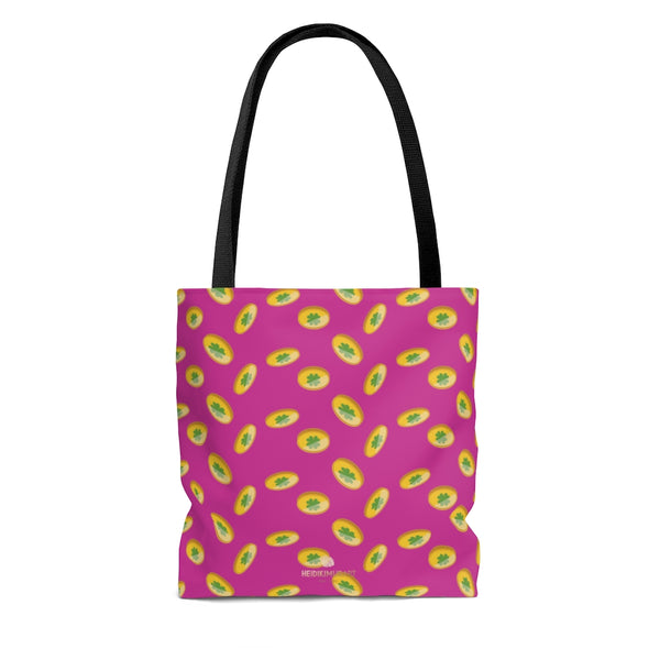 Hot Pink Gold Coins Lucky Irish Green Clover Leaf Shamrock Print Tote Bag- Made in USA-Beach Tote Bag-Heidi Kimura Art LLC