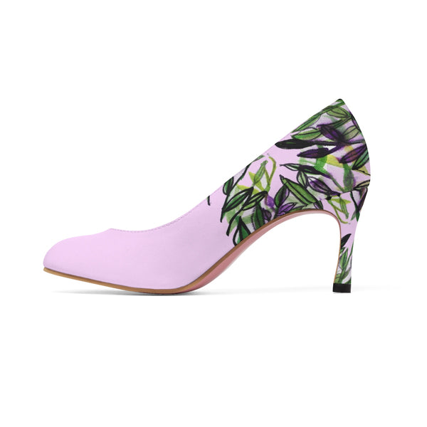 "Pink Green Tropical Leaves Floral Designer Women's 3"" High Heels Shoes (US Size: 5-11)-3 inch Heels-Heidi Kimura Art LLC"