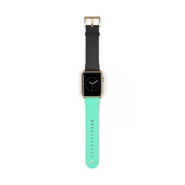 Dual Color Black & Light Blue 38mm/ 42mm Watch Band For Apple Watch- Made in USA-Watch Band-42 mm-Gold Matte-Heidi Kimura Art LLC