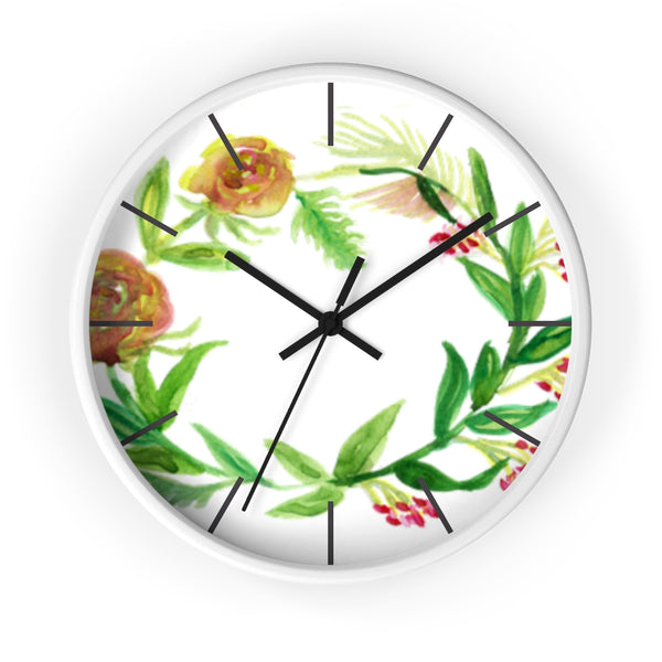 Orange Red Fall Roses Floral Print 10 inch Diameter Unique Wall Clock - Made in USA-Wall Clock-White-Black-Heidi Kimura Art LLC