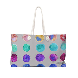 "Gray Designer Colorful Polka Dots Designer 24""x13"" Weekender Bag - Made in USA-Weekender Bag-24x13-Heidi Kimura Art LLC"