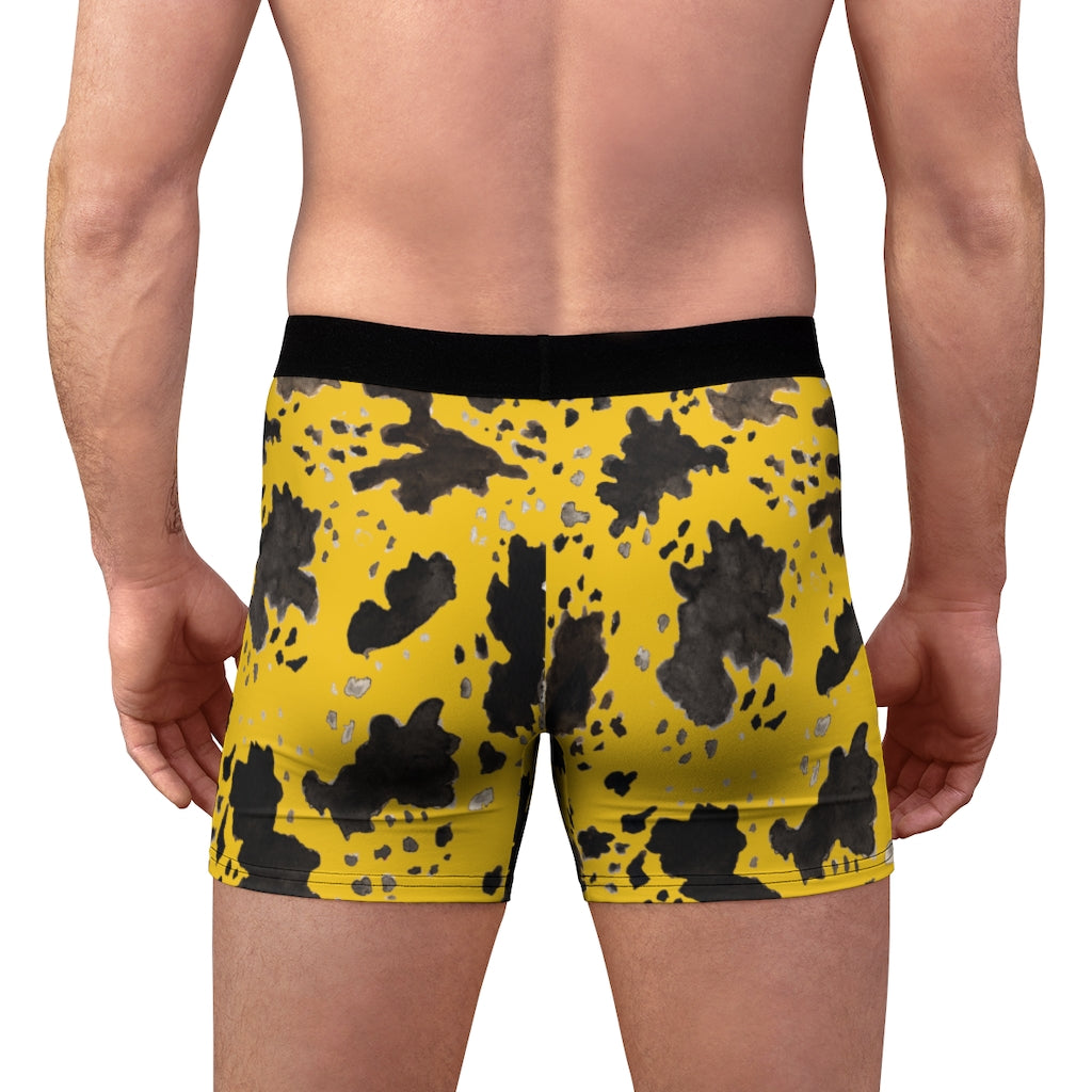 Yellow Cow Men's Underwear, Cow Farm Animal Print Fetish Print Designer Fashion Underwear For Sexy Gay Men, Men's Gay Fetish Party Erotic Boxer Briefs Elastic Underwear (US Size: XS-3XL)