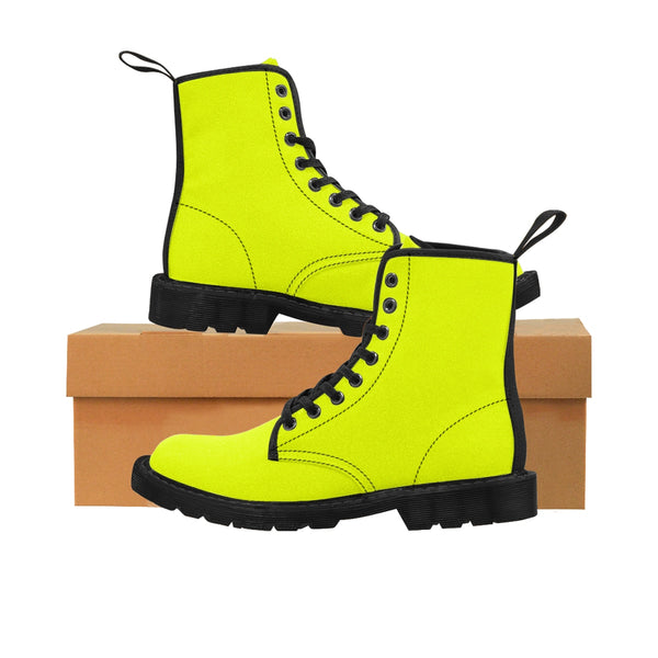 Lime Yellow Classic Solid Color Designer Women's Winter Lace-up Toe Cap Boots-Women's Boots-Heidi Kimura Art LLC