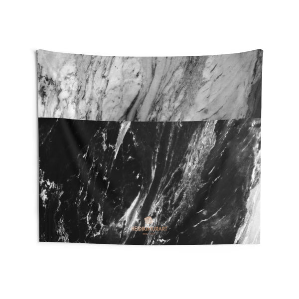 Grey Black Marble Print Designer Indoor Wall Tapestries- Made in USA-Home Decor-80x68-Heidi Kimura Art LLC