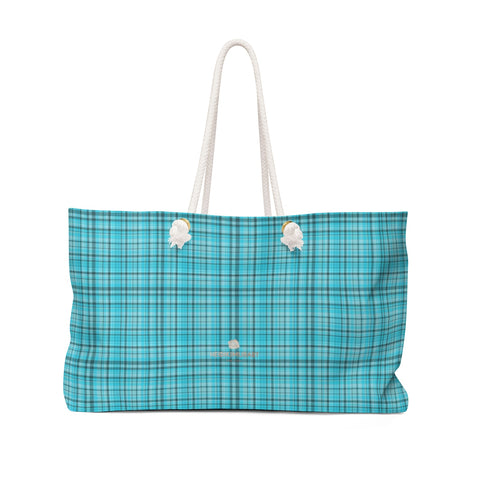 "Light Blue Plaid Tartan Print Oversized Designer 24""x13"" Large Weekender Bag-Weekender Bag-24x13-Heidi Kimura Art LLC"