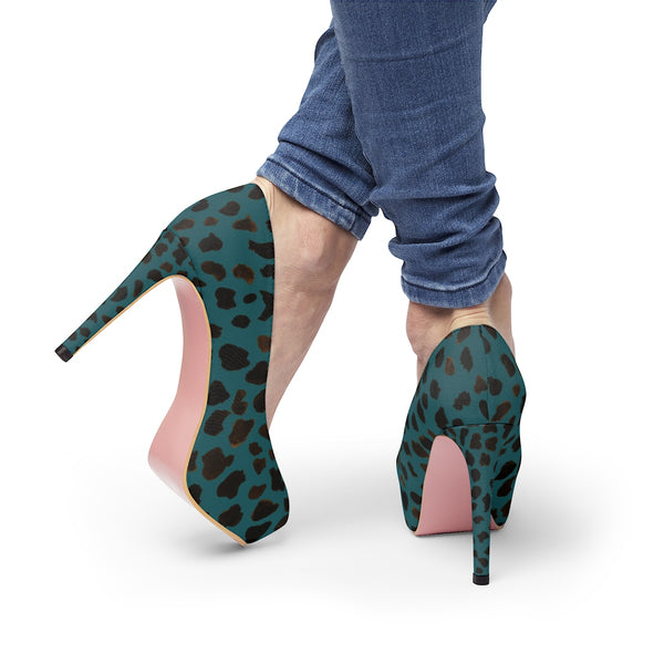 Teal Blue Designer Cow Print Animal Print Luxury Women's Platform Heels - Heidi Kimura Art LLC