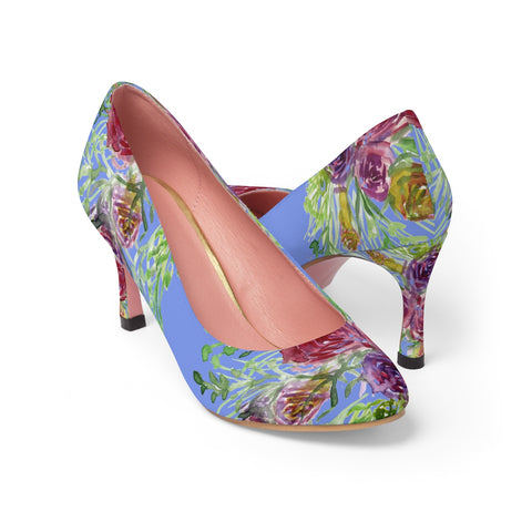 "Violet Blue Bridal Wedding Rose Flower Floral Print Women's 3"" High Heels Pumps Shoes (US Size: 5-11)-3 inch Heels-US 7-Heidi Kimura Art LLC"