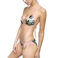Ami Wild Green Tropical Leaves Print Asian Beauty Women's Bikini Swimsuit Swimwear (US Size: S-5XL) - Heidi Kimura Art LLC