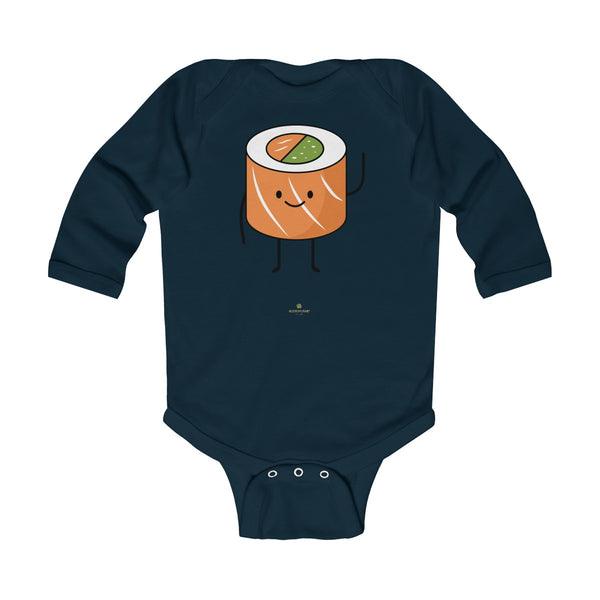 Salmon Sushi Lover Baby Boy or Girls Infant Kids Long Sleeve Bodysuit - Made in USA-Infant Long Sleeve Bodysuit-Navy-NB-Heidi Kimura Art LLC