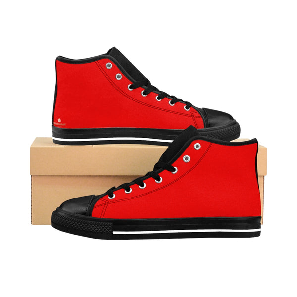 Hot Red Lady Solid Color Women's High Top Sneakers Running Shoes (US Size: 6-12)-Women's High Top Sneakers-US 9-Heidi Kimura Art LLC Red Women's Sneakers, Hot Red Lady Solid Color Women's High Top Sneakers Running Shoes (US Size: 6-12)