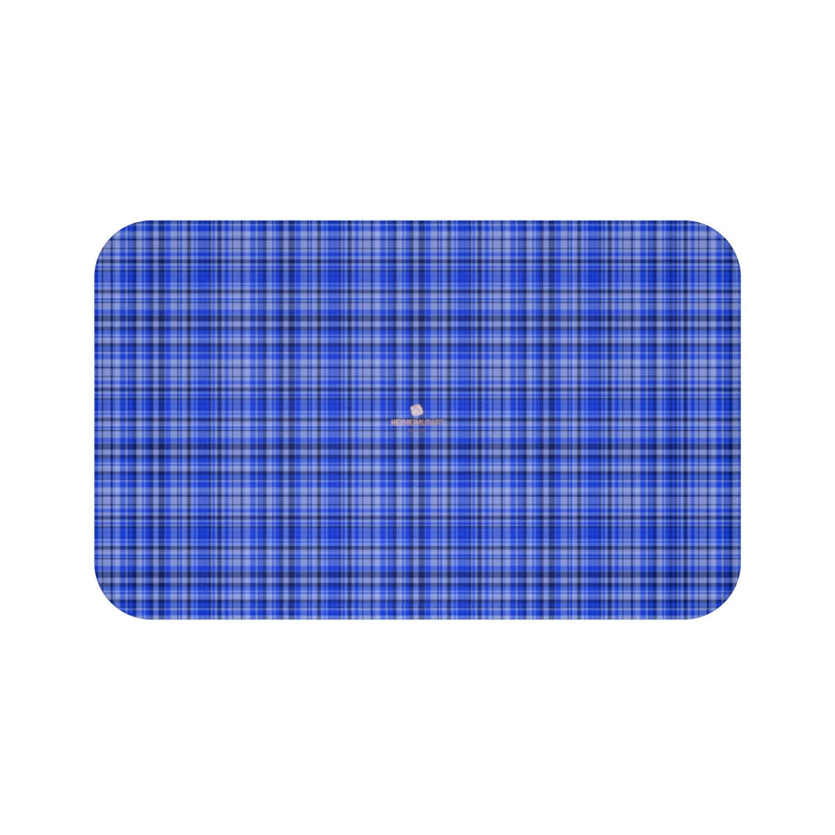 Blue Tartan Plaid Print Designer Bathroom Anti-Slip Microfiber Bath Mat-Printed in USA-Bath Mat-Large 34x21-Heidi Kimura Art LLC