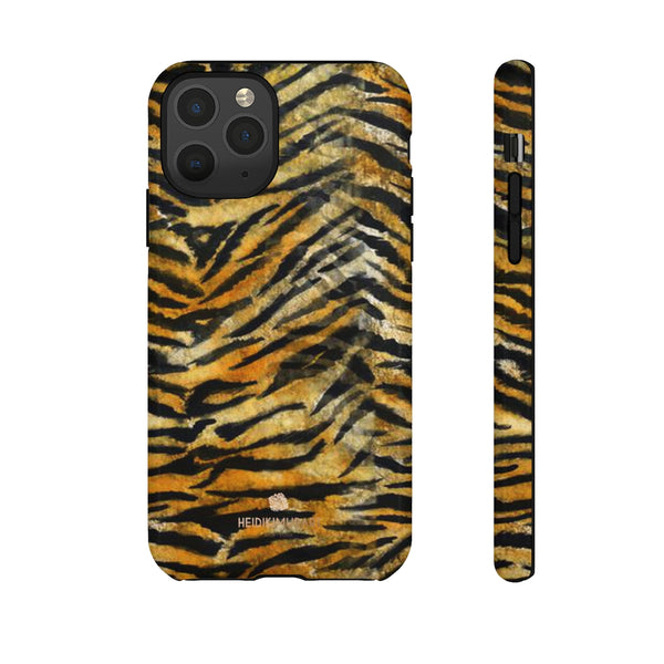 Orange Tiger Striped Phone Case, Animal Print Tough Cases, Designer Phone Case-Made in USA-Phone Case-Printify-iPhone 11 Pro-Glossy-Heidi Kimura Art LLC