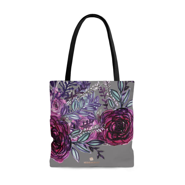 Gray Rose Floral Tote Bag, Flower Print Women's Premium Market Tote Bag - Made in USA-Tote Bag-Large-Heidi Kimura Art LLC