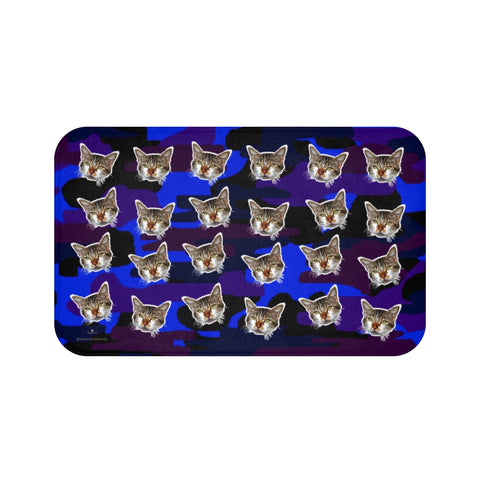 Blue Camo Cat Print Bath Mat, Purple Calico Cat Soft Microfiber Bath Rug-Printed in USA-Bath Mat-Large 34x21-Heidi Kimura Art LLC