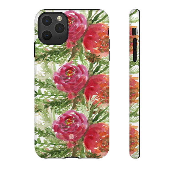 Red Orange Floral Phone Case, Flower Print Tough Designer Phone Case -Made in USA-Phone Case-Printify-iPhone 11 Pro Max-Glossy-Heidi Kimura Art LLC