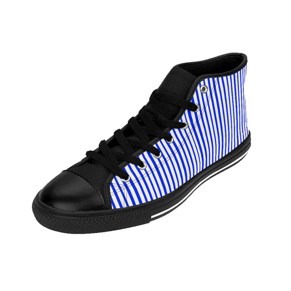 Blue Striped Men's High-top Sneakers, Modern Stripes Men's Designer Tennis Running Shoes-Shoes-Printify-Heidi Kimura Art LLC Blue Striped Men's High-top Sneakers, Blue White Modern Stripes Men's High Tops, High Top Striped Sneakers, Striped Casual Men's High Top For Sale, Fashionable Designer Men's Fashion High Top Sneakers, Tennis Running Shoes (US Size: 6-14)