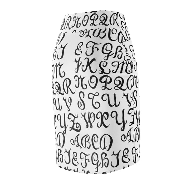 Black White Calligraphy Lettering Print Women's Pencil Skirt-Made in USA(US Size: XS-2XL)-Pencil Skirt-Heidi Kimura Art LLC