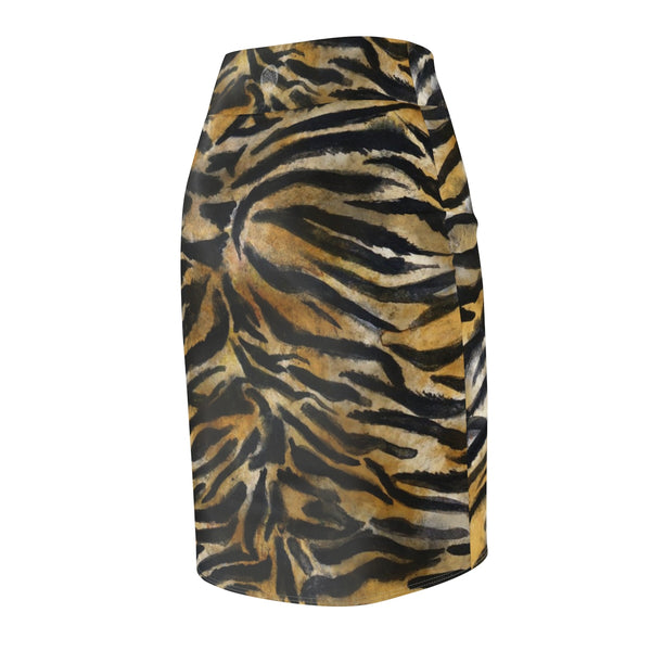 Tiger Striped Print Women's Pencil Skirt, Animal Print Women's Skirt - Made in USA (Size XS-2XL)-Pencil Skirt-Heidi Kimura Art LLC