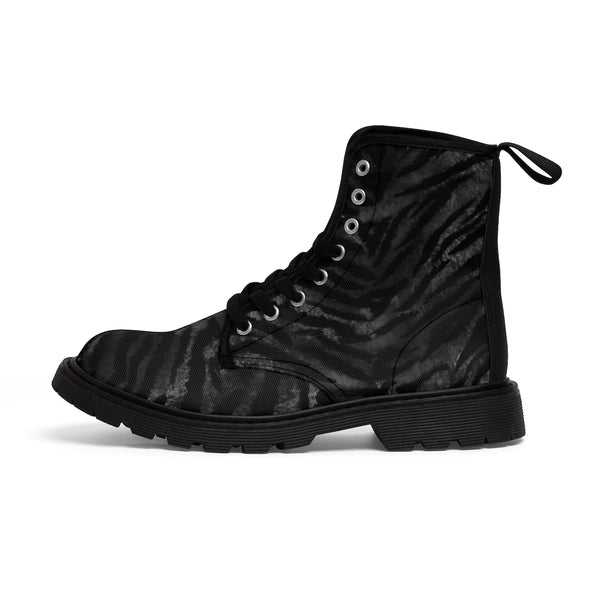 Kagoshima Black Tiger Stripe Pattern Designer Women's Winter Lace-up Toe Cap Boots-Women's Boots-Black-US 9-Heidi Kimura Art LLC