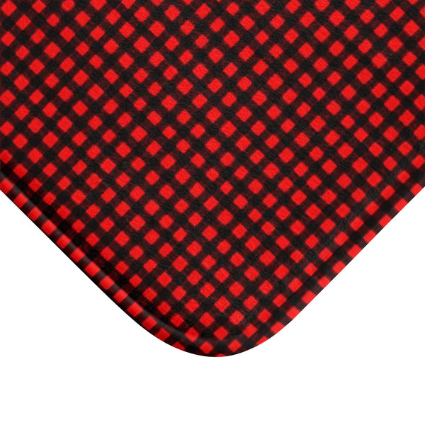 Buffalo Red Plaid Print Designer Bathroom Anti-Slip Microfiber Bath Mat-Made in USA-Bath Mat-Heidi Kimura Art LLC
