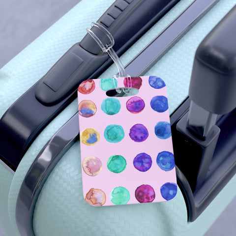 Yuko Cute Watercolor Polka Dots Designer Travel Luggage Suitcase Bag Tag - Made in USA Yuko Cute Watercolor Polka Dots Designer Travel Luggage Suitcase Bag Tag - Made in USA