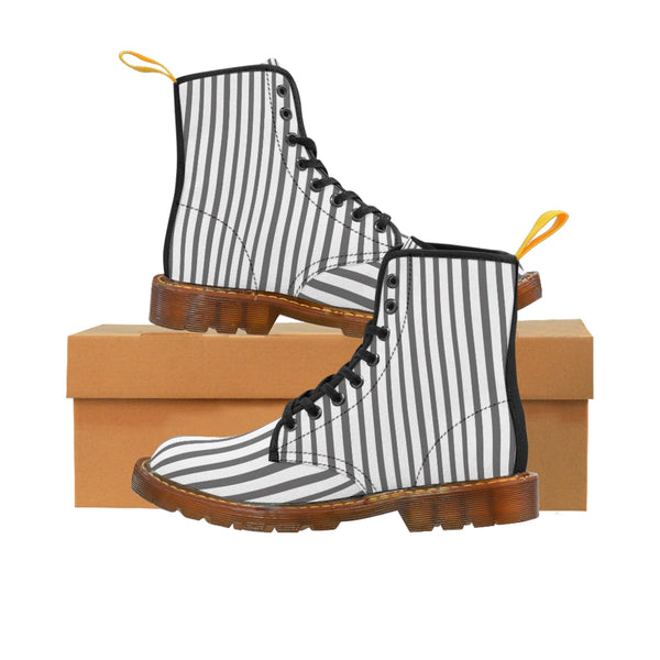 Grey Striped Print Men's Boots, White Stripes Best Hiking Winter Boots Laced Up Shoes For Men-Shoes-Printify-Brown-US 8-Heidi Kimura Art LLC