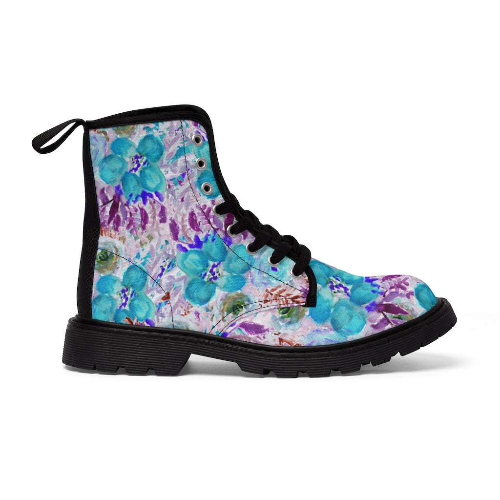 Purple Floral Print Men's Boots, Best Hiking Winter Boots Laced Up Shoes For Men-Shoes-Printify-Black-US 9-Heidi Kimura Art LLC