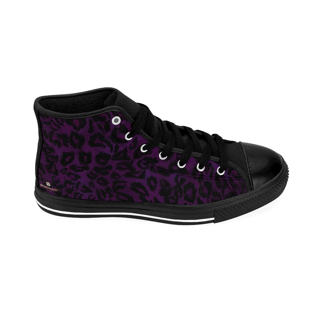 "Purple Leopard Women's Sneakers, Animal Print Designer High-top Fashion Tennis Shoes-Shoes-Printify-Black-US 9-Heidi Kimura Art LLCPurple Leopard Women's Sneakers, Animal Print 5"" Calf Height Women's High-Top Sneakers Running Canvas Shoes (US Size: 6-12)"