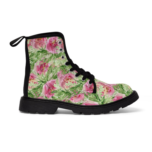 Pink French Rose Floral Print Designer Women's Winter Lace-up Toe Cap Boots-Women's Boots-Heidi Kimura Art LLC Pink French Rose Women's Boots, Pink French Rose Floral Print Designer  Women's Winter Lace-up Toe Cap Boots Shoes (US Size 6.5-11)