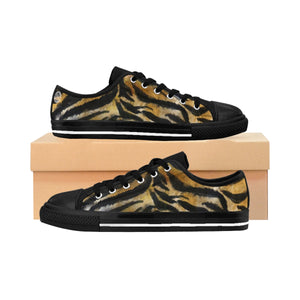 Tiger Stripe Women's Low Tops, Brown Animal Print Low Top Women's Sneakers Shoes-Women's Low Top Sneakers-US 10-Heidi Kimura Art LLC