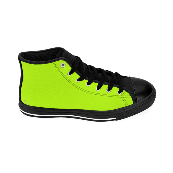 Light Green Solid Color Print Premium Men's High-top Fashion Sneakers Casual Shoes-Men's High Top Sneakers-Black-US 9-Heidi Kimura Art LLC