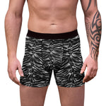 Nobu Gray Tiger Striped Animal Print Sexy Hot Men's Boxer Briefs Hipster Lightweight 2-sided Soft Fleece Lined Fit Underwear - (US Size: XS-3XL) Fun Boxer, Gay Men Nobu Gray Tiger Striped Animal Print Sexy Hot Men's Boxer Briefs Hipster Lightweight 2-sided Soft Fleece Lined Fit Underwear - (US Size: XS-3XL)