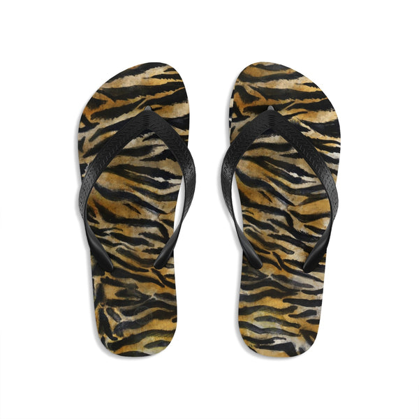 Cute Tiger Stripe Wild Animal Skin Print Designer Unisex Men/Women's Flip-Flops - Made in USA (Size: S, M, L)-Flip-Flops-Large-Heidi Kimura Art LLC