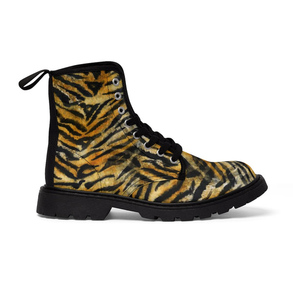 Women's Tiger Stripe Boots, Brown Bengal Tiger Print Winter Lace-up Toe Cap Boots Shoes-Women's Boots-Heidi Kimura Art LLC