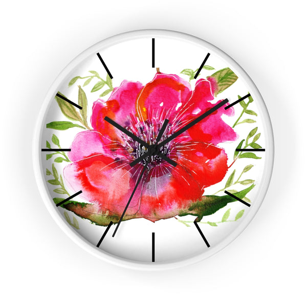 "Pink Hibiscus Floral Print Wall Clock, 10"" Dia. Modern Unique Indoor Clock-Made in USA-Wall Clock-White-Black-Heidi Kimura Art LLC Pink Hibiscus Floral Clock, Hot Pink Hibiscus Floral Print 10 inch Diameter Modern Unique Indoor Wall Clock - Made in USA"