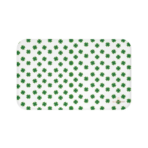 White Green Clover Print St. Patrick's Day Bathroom Home Soft Bath Mat- Printed in USA-Bath Mat-Large 34x21-Heidi Kimura Art LLC