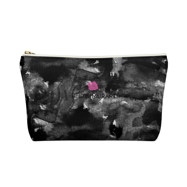 Black Rose Floral Print Designer Accessory Pouch with T-bottom Makeup Bag-Accessory Pouch-Heidi Kimura Art LLC