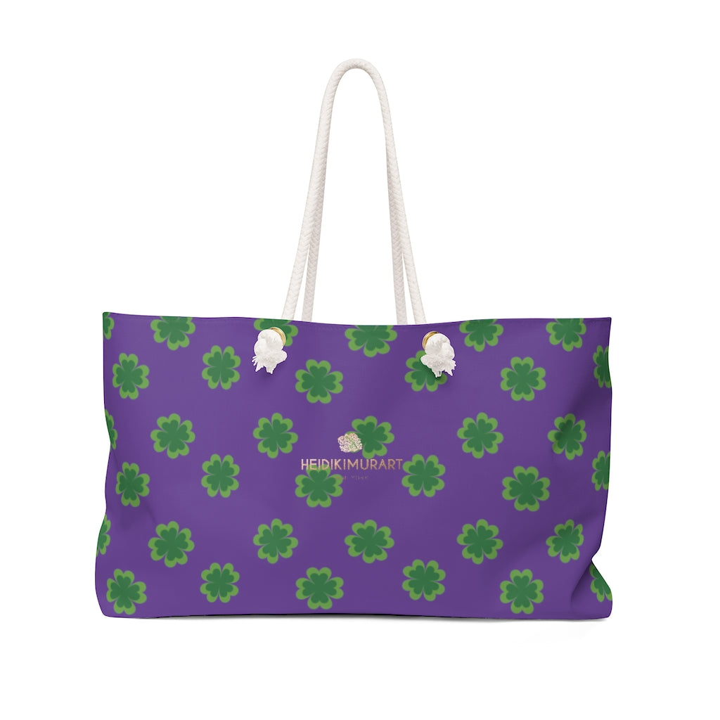 Purple Green Clover Print St. Patrick's Day Designer Large Weekender Tote Bag- Printed in USA-Weekender Bag-24x13-Heidi Kimura Art LLC