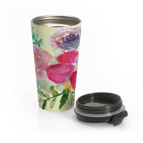 Mixed Pink Purple Rose Flower Floral Print Stainless Steel 15oz Travel Mug - Made in USA-Mug-Travel Mug-Heidi Kimura Art LLC