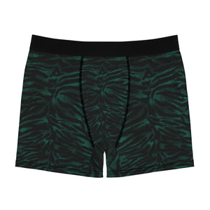 Green Tiger Striped Animal Print Sexy Hot Men's Boxer Briefs-Men's Underwear-L-Black Seams-Heidi Kimura Art LLC